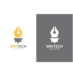 pen and gear logo combination write and vector image