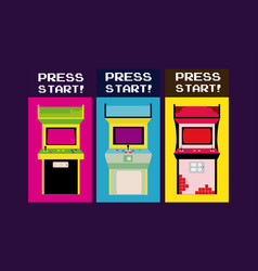 press start vintage arcade design vector image