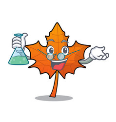 Professor red maple leaf character cartoon vector