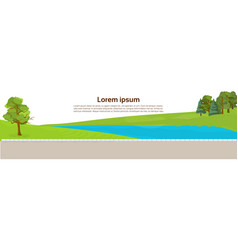 public park river or lake green lawn and trees on vector image