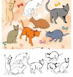 Seamless parttern Cats vector