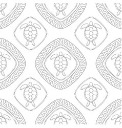 seamless pattern with turtle polynesian symbols vector image