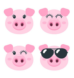 set cute pig faces isolated on white vector image