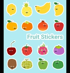 Set of funny fruit stickers vector image