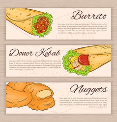 set of hand drawn fast food banners with donner vector image