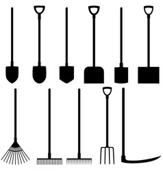Set of icons of shovels rakes fork scythe vector