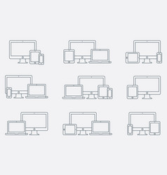 Set of outline device icons responsive vector