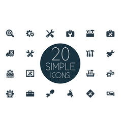 set simple fixing icons vector image