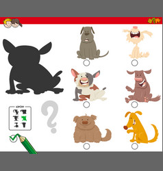 Shadows game with cartoon dog characters vector