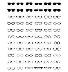 Silhouettes of different eyeglasses vector