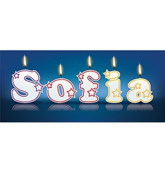 SOFIA written with burning candles vector