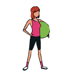 Sport girl fitball athletic image vector