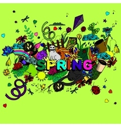 Spring line art design vector image