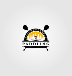 Stand up paddle vintage logo silhouette design vector