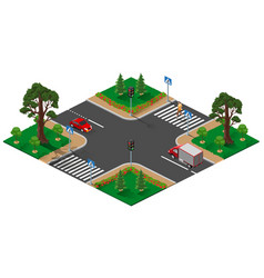 Street road intersection with traffic light vector