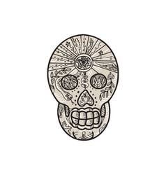 Sugar Skull Tattoo Etching vector