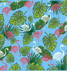 Summer background with flamingo and tropic leaves vector