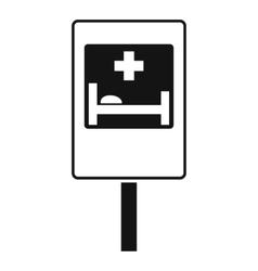 Symbol of hospital road sign icon simple style vector