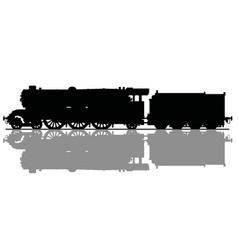 The black silhouette of an old steam locomotive vector