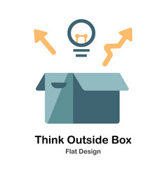 Think outside the box flat icon vector