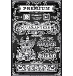 Vintage Hand Drawn Graphic Labels on Blackboard vector image
