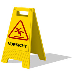 Vorsicht caution two panel yellow sign vector