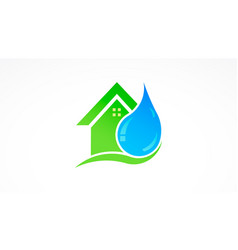 Water drop and house real estate logo vector