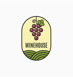 wine grape logo linear wine emblem on white vector image