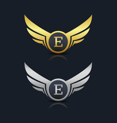 Wings shield letter e logo template vector