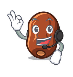 With headphone dates fruit mascot cartoon vector