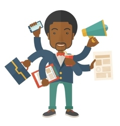 Young but happy african employee doing vector image