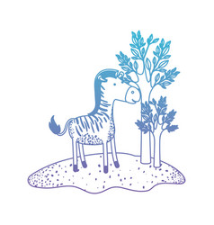 Zebra cartoon in forest next to the trees in vector