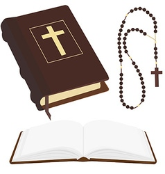 Bible and rosary beads vector