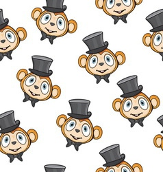 Cute monkey pattern vector image vector image