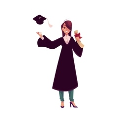 Female student in traditional gown throwing cap vector image vector image