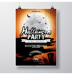 Halloween Party Flyer Design with graves and moon vector image vector image