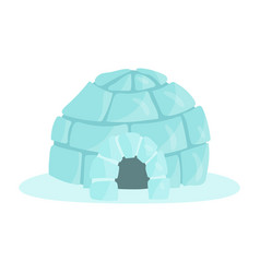 igloo icy cold house built from ice blocks vector image