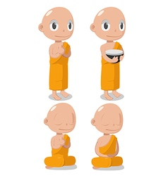 Monk Buddha Cartoon Cute Character vector image