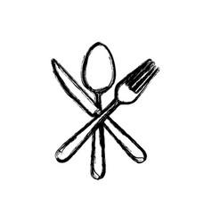 sticker white cutlery icon vector image