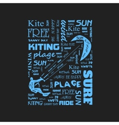 Surfer t-shirt graphics with kite poster vector image vector image