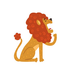 cute lion cartoon character sitting and yawning vector image vector image