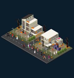isometric halloween holiday celebration concept vector image