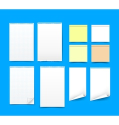 Set of blank paper on blue background eps 10 vector image