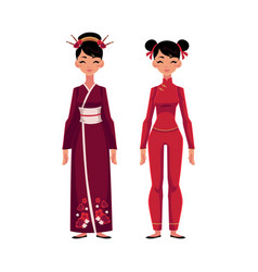 two chinese women in traditional national costumes vector image