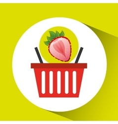 basket market sweet strawberry icon design vector image