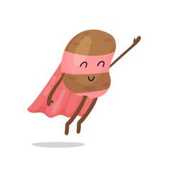 cartoon potato superhero flat character with pink vector image