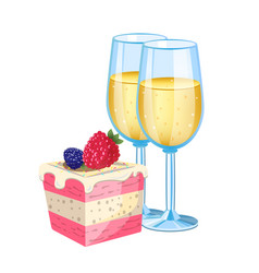 champagne with dessert vector image vector image