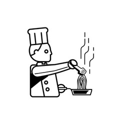 chef cooking spaghetti outline vector image vector image