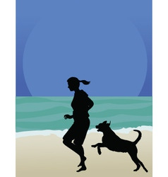 dog on beach vector image
