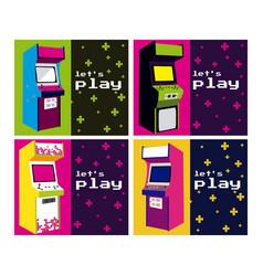 lets play arcade design vector image